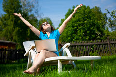 Woman enjoying the sun Royalty Free Stock Images