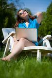 Woman enjoying the sun Stock Image