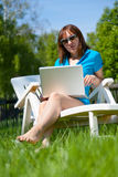 Woman enjoying the sun Stock Images