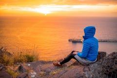 Woman enjoying sunrise Royalty Free Stock Photography