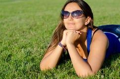 Woman enjoying the sunshine Stock Photo