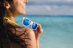 Woman enjoying tropical caribbean vacation Royalty Free Stock Photography