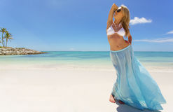 Woman enjoying vacation on the beach Stock Photography