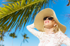 Woman enjoying vacation at tropical destination Royalty Free Stock Photography