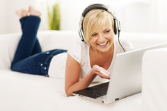 Woman enjoying video chat Stock Photo