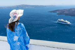 Woman Enjoying The View of Santorini Royalty Free Stock Photo