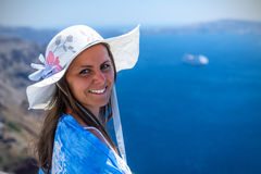 Woman Enjoying The View of Santorini Royalty Free Stock Photos