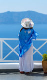 Woman Enjoying The View of Santorini Royalty Free Stock Images