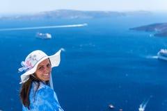 Woman Enjoying The View of Santorini royalty free stock image