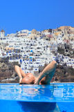 Woman enjoying the view of Santorini Royalty Free Stock Photography