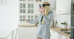 Woman enjoying VR headset stock footage