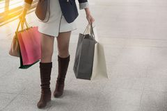 Woman enjoying the weekend in shopping royalty free stock image