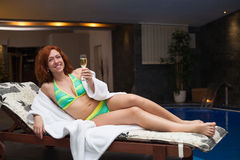 Woman enjoying wellness and spa swimming pool Stock Photos