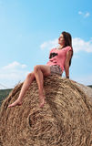 Woman enjoying on the wheat Royalty Free Stock Images