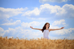 Woman enjoying in wheat field. Woman standing with outstretched arms in wheat field , freedom concept royalty free stock images