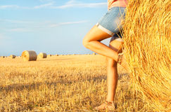 Woman enjoying on the wheat field Stock Photography