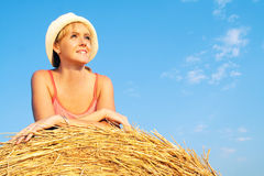 Woman enjoying on the wheat field Stock Photo