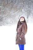 Woman enjoying winter Stock Photos