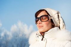 Woman enjoying winter day Stock Image