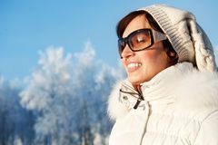 Woman enjoying winter day Stock Photo