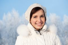 Woman enjoying winter day Stock Images