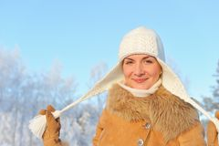 Woman enjoying winter day Royalty Free Stock Images