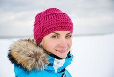 Woman enjoying winter day Stock Image