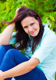 Woman enjoys the green nature Royalty Free Stock Photography