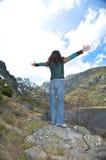Woman enjoys mountains Royalty Free Stock Photo
