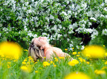 Woman enjoys nature Stock Photo