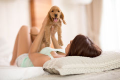 Woman enjoys with small dog in bed. Pretty woman plays and enjoys with adorable small dog in her bed Royalty Free Stock Image