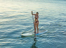 Woman enjoys Stand Up Paddle Surfing in Key West Royalty Free Stock Image