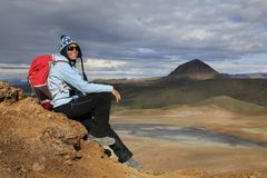 Woman enjoys stunning views of Icelandic landscape Royalty Free Stock Photo