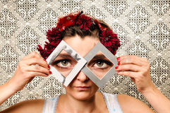 Woman with enlarged eyes Royalty Free Stock Image