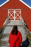 Woman entering a barn bridge royalty free stock photography