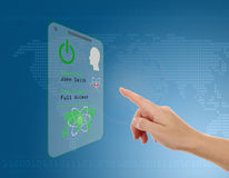 Entering the door or secure data by touch screen. Woman entering the door or secure data by touch screen Stock Images