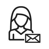 Woman with Envelope. Envelope, woman, business icon vector image. Can also be used for women. Suitable for mobile apps, web apps and print media stock illustration