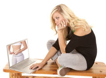 Woman envious of woman on computer Stock Photos