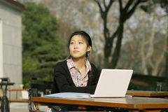 Woman with er loptop. Woman studying on PC in park Stock Photos