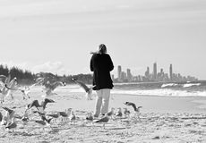 Woman escaping hustle bustle city life. A woman walks with seagulls following close behind her on a stunning deserted white sandy beach surrounded by the royalty free stock photography