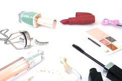 Woman essentials and cosmetics on white background. Beauty concept on white background Royalty Free Stock Image