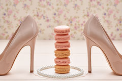 Woman essentials, fashion high heels. Macarons Royalty Free Stock Photography