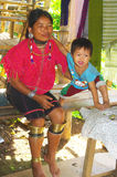 Woman of ethnic Kayo with his child. This ethnic group is originally from Burma Stock Image
