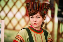 Woman In Ethnic Traditional Folks National Russian Costume Dress. Vetka, Belarus - June 23, 2018: Woman In Ethnic Traditional Folks National Russian Costume stock photography