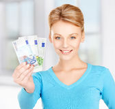 Woman with euro cash money Stock Image