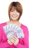 Woman with euro cash money Stock Photos