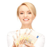 Woman with euro cash money Stock Photography