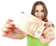 Woman and euro money Stock Photo