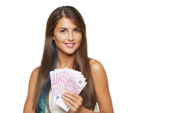 Woman with euro money Stock Image