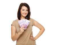 Woman with euro money in hand Stock Photos